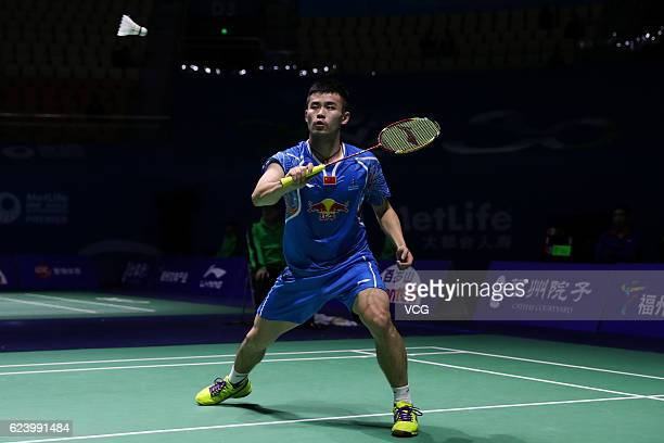 Qiao Bin of China returns to Prannoy HS of India during men's singles second round match on day three of BWF Thaihot China Open 2016 at Haixia...