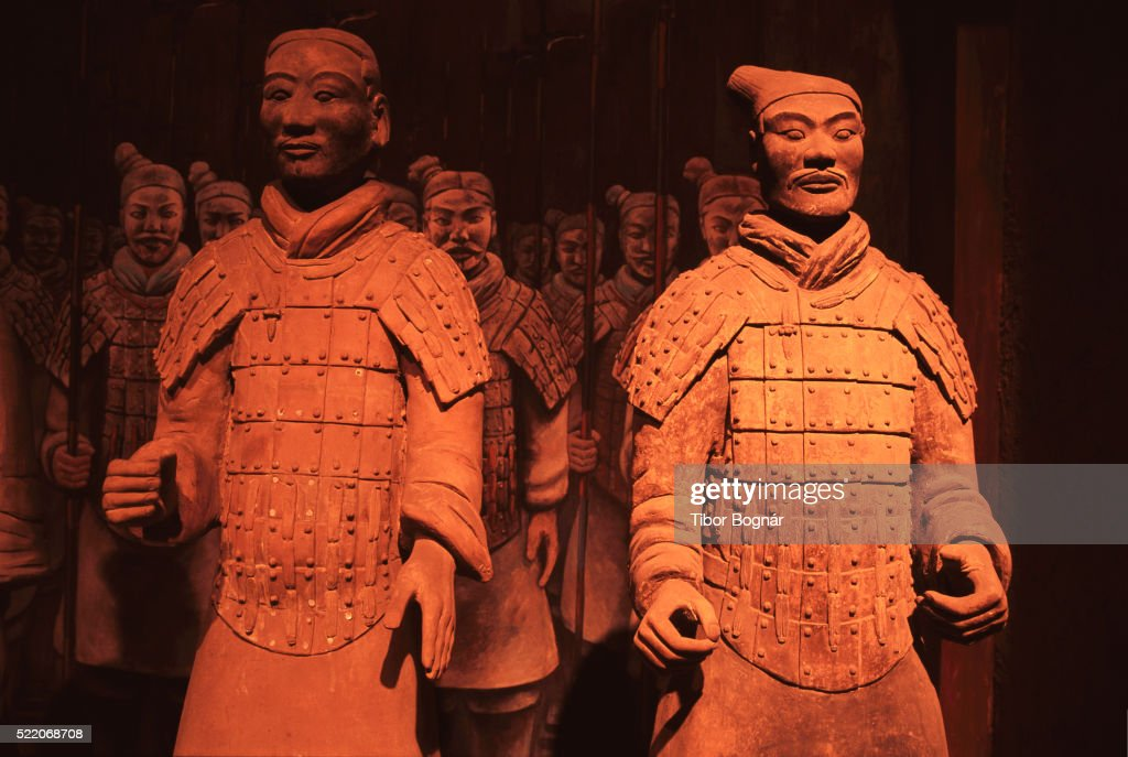 Qin Dynasty Terracotta Statues At The Shi Huangdi Tomb Stock Photo