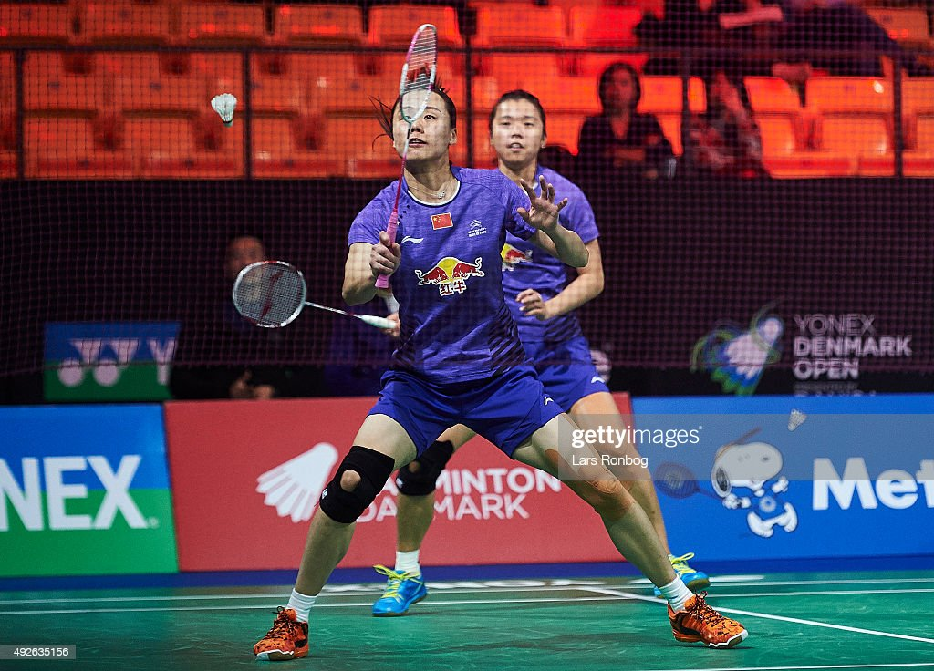 Qing and ZHAO Yunlei of China in action during Day Two at the MetLife BWF World Superseries Premier Yonex Denmark Open Badminton at Odense Idratshal on October 14, 2015 in Odense, Denmark.