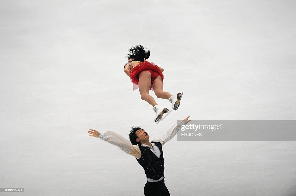 Qing Pang and Jian Tong of China compete during the Pairs Free Skating event of the Cup of China ISU Grand Prix Figure Skating in Beijing on November 2, 2013. Pang and Tong finished with a score of 194.38 for 2nd place.