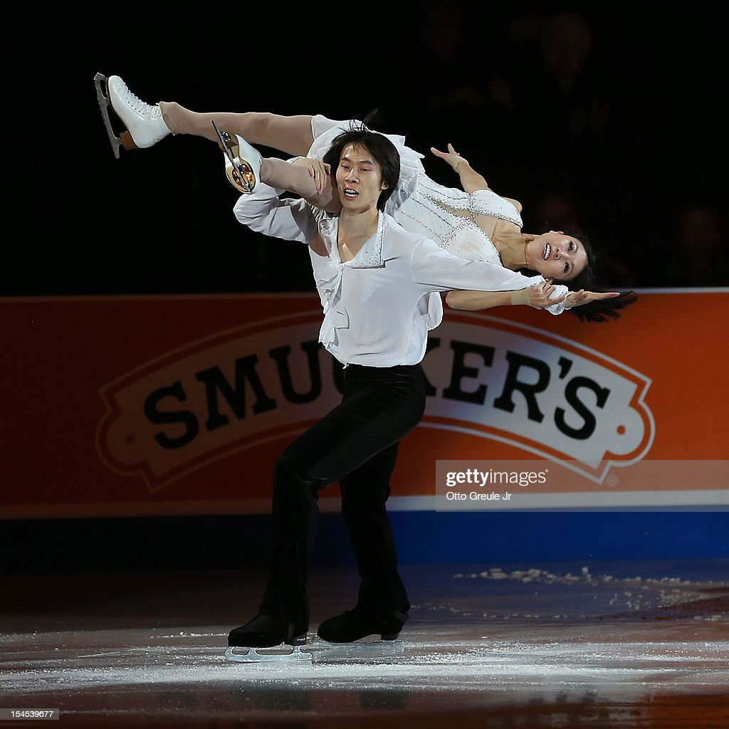 Qing Pang & Jian Tong of China skate in the Smucker's Skating Spectacular event during the Skate America competition at the ShoWare Center on October 21, 2012 in Kent, Washington.