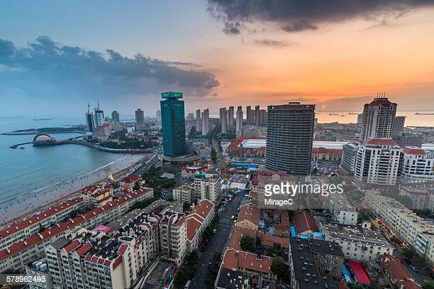 Qingdao bay sunset aerial view scenery