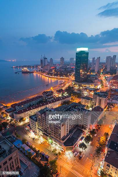 Qingdao City aerial view night scenery