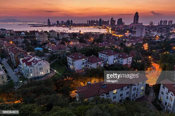 Qingdao City Dawn Illuminated View