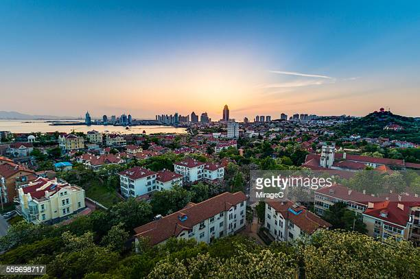 Qingdao west city sunset view