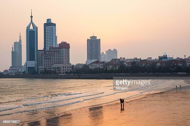 Qingdao Zhanqiao pier sunset