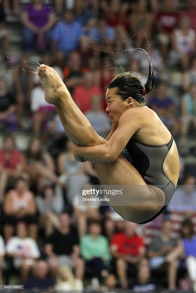 Qiongjie Drew competes in the Women's 3m Springboard final during day 9 of the 2016 U.S. Olympic Team Trials for diving at Indiana University Natatorium on June 26, 2016 in Indianapolis, Indiana.