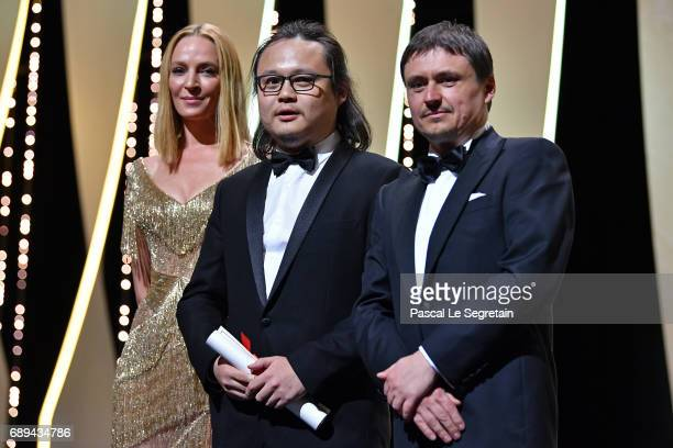 Qiu Yang poses with the award for Best Short for 'A Gentle Night' President of the Un Certain Regard jury Uma Thurman and President of the Short...
