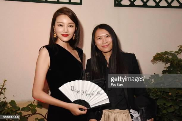 Qiu Yuting and Irene Zeng attend the 'J by Jordy' Show as part of the Paris Fashion Week Womenswear Spring/Summer 2018 on September 28 2017 in Paris...