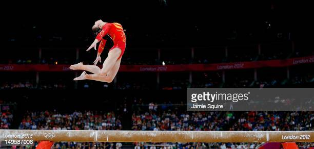Qiushuang Huang of China performs on the balance beam in the Artistic Gymnastics Women's Team final on Day 4 of the London 2012 Olympic Games at...