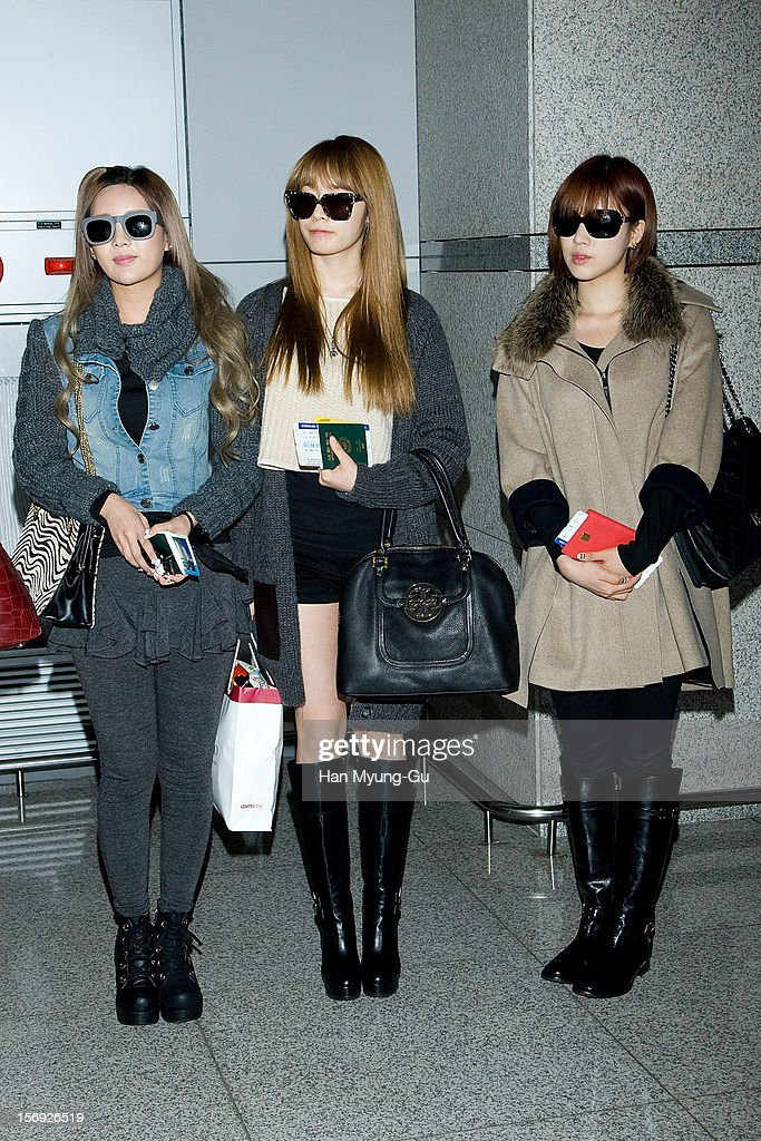 Qri, Ji-Yeon (Jiyeon) and Eun-Jung (Eunjung) of South Korean girl group T-ara is sighted at Incheon International Airport on November 25, 2012 in Incheon, South Korea.