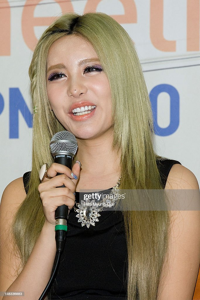 Qri of South Korean girl group T-ara attends a press conference to promote their 6th mini album named 'Day by Day' at Kyung Hee University on July 14, 2012 in Seoul, South Korea.