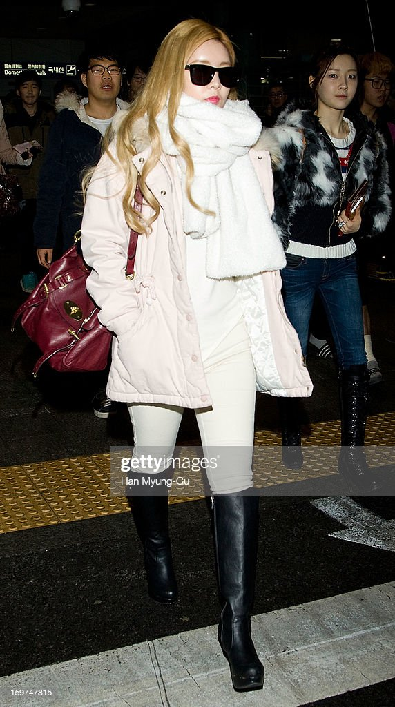 Qri of South Korean girl group T-ara is seen at Incheon International Airport on January 19, 2013 in Incheon, South Korea.