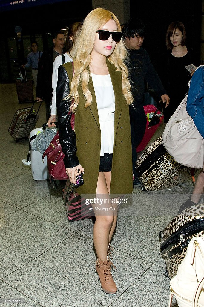 Qri of South Korean girl group T-ara is seen upon arrival at Incheon International Airport on March 17, 2013 in Incheon, South Korea.