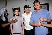 QTip Harmony Korine Leonardo Dicaprio and Michael Rappaport backstage at A Tribe Called Quest show at Tramps in New York City on June 18 1998