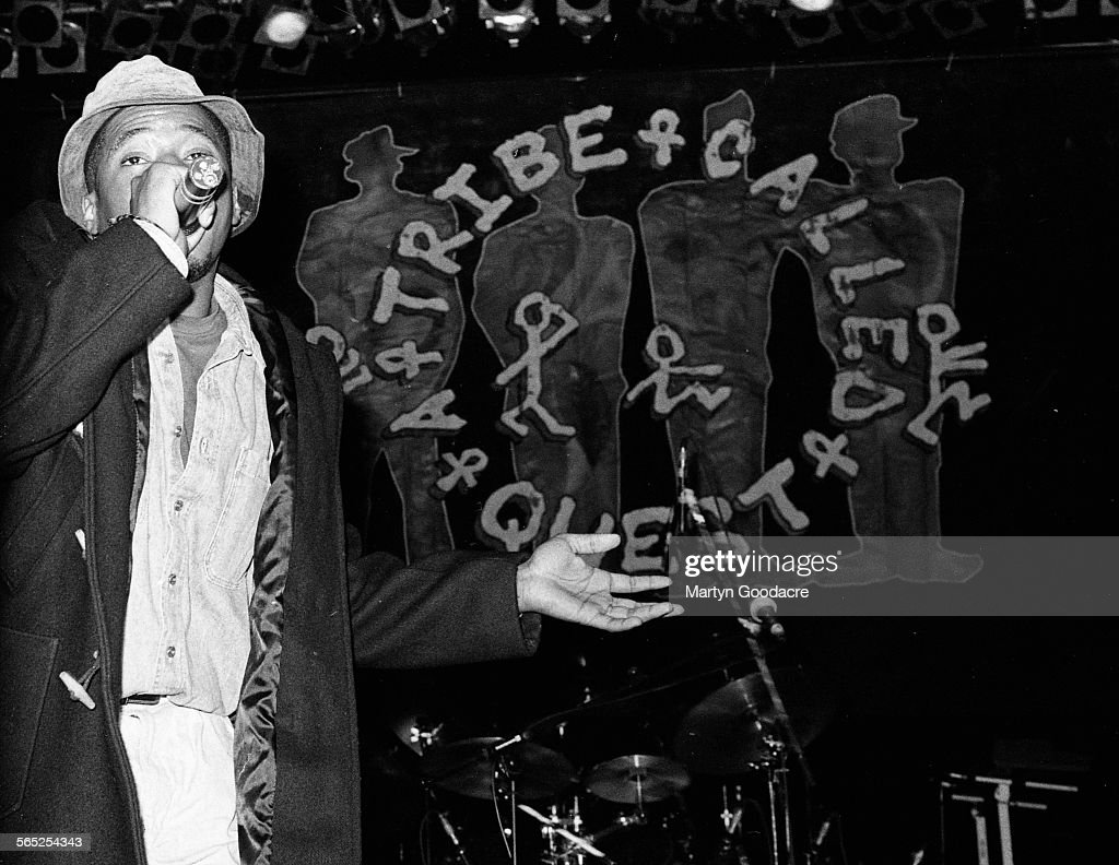 Q-Tip of A Tribe Called Quest performs on stage, London, United Kingdom, 1990.