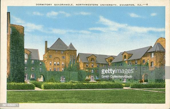 A quad on the Northwestern University campus in Evanston Illinois surrounded by ivy covered dormitories 1943