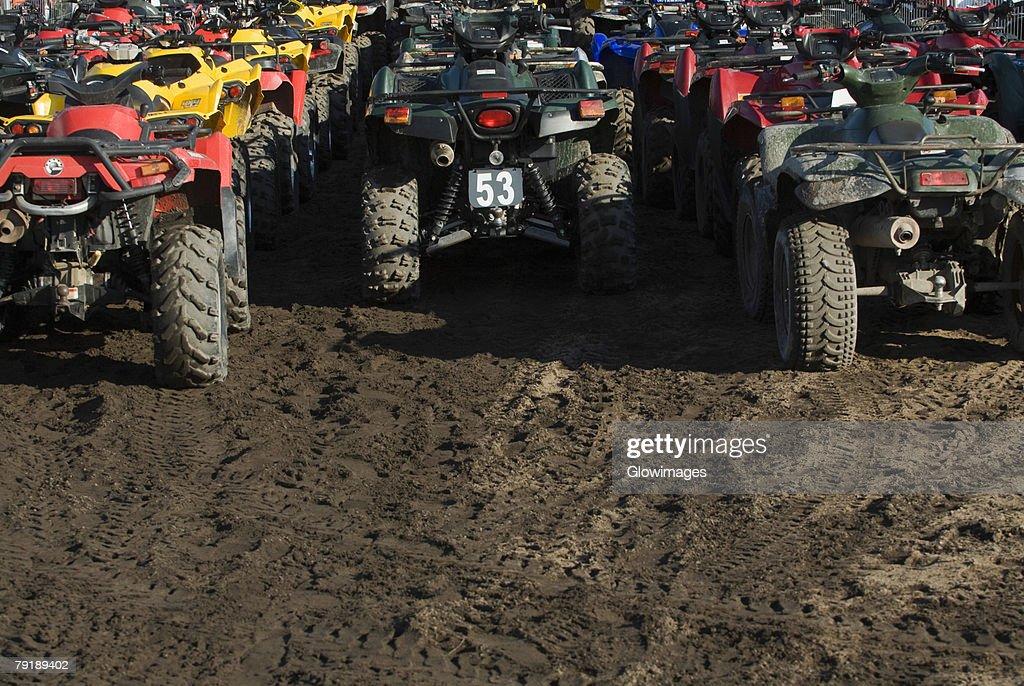 Quadbikes in a desert : Foto de stock