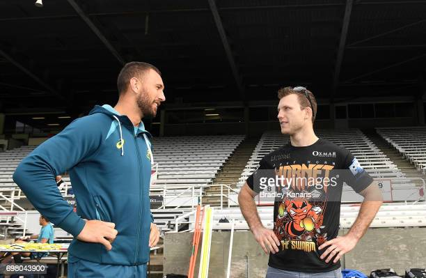 Quade Cooper and Jeff Horn have a chat during an Australian Wallabies media opportunity at Ballymore Stadium on June 20 2017 in Brisbane Australia