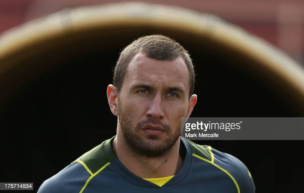 Quade Cooper arrives for an Australian Wallabies training session at North Sydney Oval on August 7 2013 in Sydney Australia