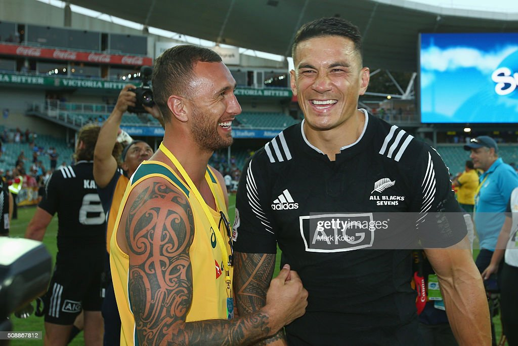 <a gi-track='captionPersonalityLinkClicked' href=/galleries/search?phrase=Quade+Cooper&family=editorial&specificpeople=4176008 ng-click='$event.stopPropagation()'>Quade Cooper</a> of Australia and <a gi-track='captionPersonalityLinkClicked' href=/galleries/search?phrase=Sonny+Bill+Williams&family=editorial&specificpeople=204424 ng-click='$event.stopPropagation()'>Sonny Bill Williams</a> of New Zealand share a laugh after the 2016 Sydney Sevens cup final match between Australia and New Zealand at Allianz Stadium on February 7, 2016 in Sydney, Australia.