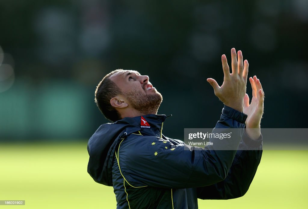 <a gi-track='captionPersonalityLinkClicked' href=/galleries/search?phrase=Quade+Cooper&family=editorial&specificpeople=4176008 ng-click='$event.stopPropagation()'>Quade Cooper</a> of Australia in action during a training session at Latymer School on October 29, 2013 in London, England.
