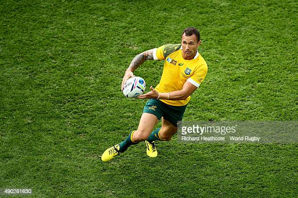 Quade Cooper of Australia in action during the 2015 Rugby World Cup Pool A match between Australia and Uruguay at Villa Park on September 27 2015 in...