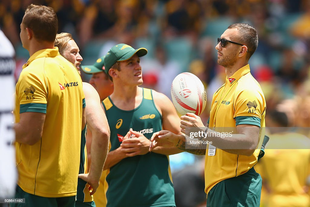 <a gi-track='captionPersonalityLinkClicked' href=/galleries/search?phrase=Quade+Cooper&family=editorial&specificpeople=4176008 ng-click='$event.stopPropagation()'>Quade Cooper</a> of Australia watches on as his team warms-up during the 20146 Sydney Sevens match between Australia and Portugal at Allianz Stadium on February 6, 2016 in Sydney, Australia.