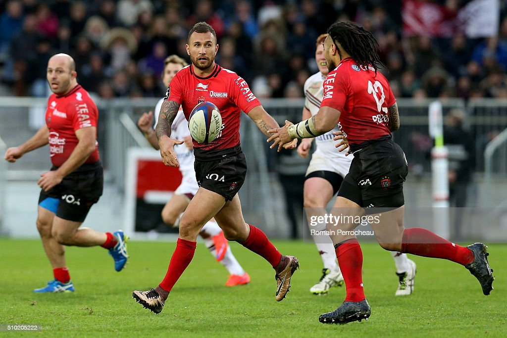 <a gi-track='captionPersonalityLinkClicked' href=/galleries/search?phrase=Quade+Cooper&family=editorial&specificpeople=4176008 ng-click='$event.stopPropagation()'>Quade Cooper</a> of RC Toulon in action during the Top 14 rugby match between Union Bordeaux Begles and RC Toulon at Stade Matmut Atlantique on February 14, 2016 in Bordeaux, France.