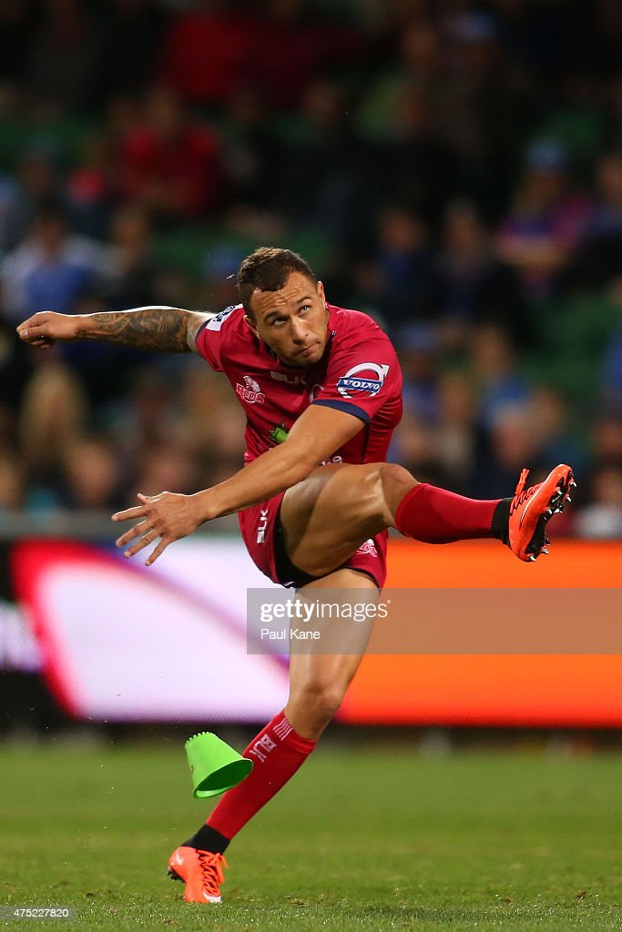 <a gi-track='captionPersonalityLinkClicked' href=/galleries/search?phrase=Quade+Cooper&family=editorial&specificpeople=4176008 ng-click='$event.stopPropagation()'>Quade Cooper</a> of the Reds takes a penalty kick during the round 16 Super Rugby match between the Western Force and the Queensland Reds at nib Stadium on May 30, 2015 in Perth, Australia.