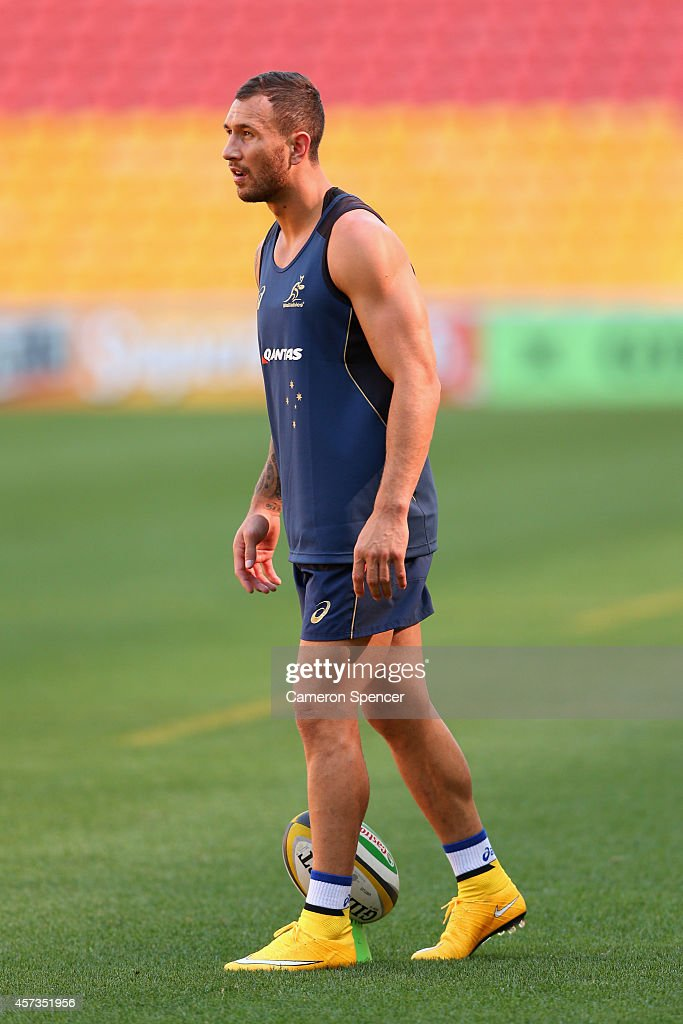 <a gi-track='captionPersonalityLinkClicked' href=/galleries/search?phrase=Quade+Cooper&family=editorial&specificpeople=4176008 ng-click='$event.stopPropagation()'>Quade Cooper</a> of the Wallabies lines up a kick during an Australian Wallabies Captain's Run at Suncorp Stadium on October 17, 2014 in Brisbane, Australia.