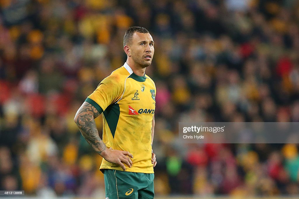 <a gi-track='captionPersonalityLinkClicked' href=/galleries/search?phrase=Quade+Cooper&family=editorial&specificpeople=4176008 ng-click='$event.stopPropagation()'>Quade Cooper</a> of the Wallabies looks on during The Rugby Championship match between the Australian Wallabies and the South Africa Springboks at Suncorp Stadium on July 18, 2015 in Brisbane, Australia.