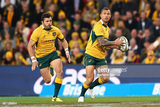 Quade Cooper of the Wallabies runs the ball during The Rugby Championship match between the Australian Wallabies and the South Africa Springboks at...