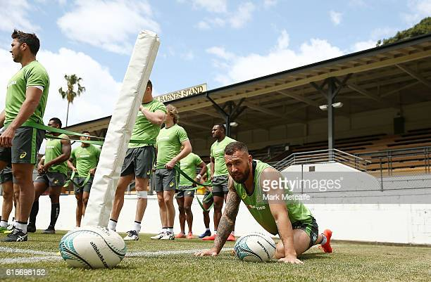 Quade Cooper of the Wallabies stretches during an Austalian Wallabies training session at Leichhardt Oval on October 20 2016 in Sydney Australia