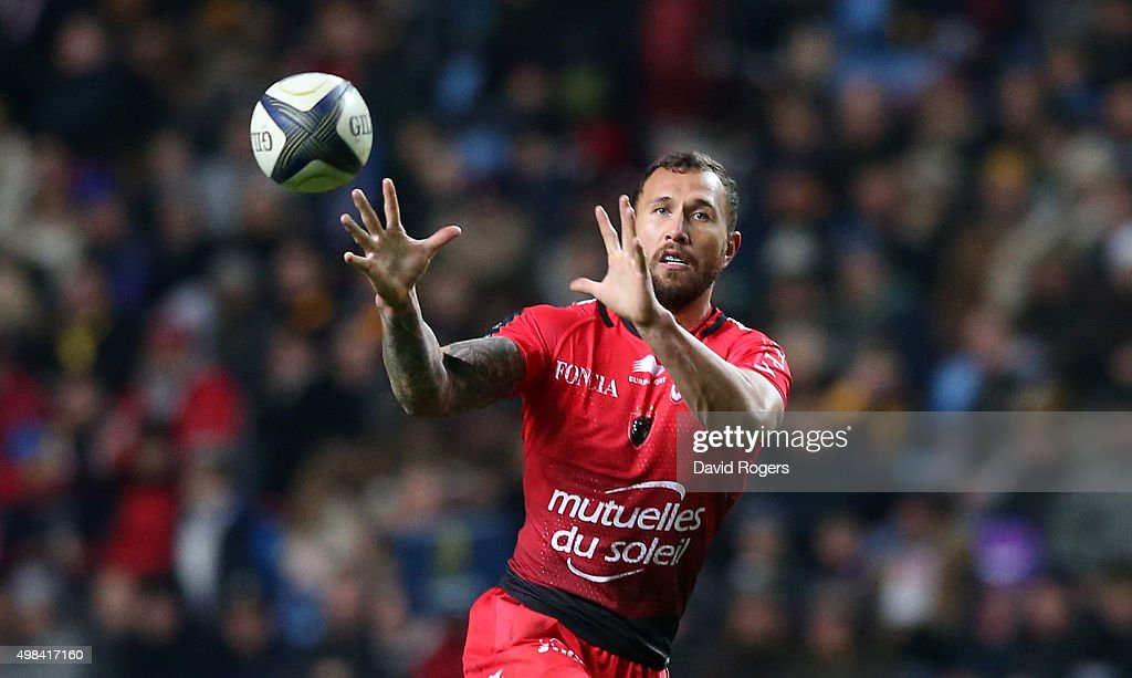 <a gi-track='captionPersonalityLinkClicked' href=/galleries/search?phrase=Quade+Cooper&family=editorial&specificpeople=4176008 ng-click='$event.stopPropagation()'>Quade Cooper</a> of Toulon catches the ball during the European Rugby Champions Cup match between Wasps and Toulon at the Ricoh Arena on November 22, 2015 in Coventry, England.