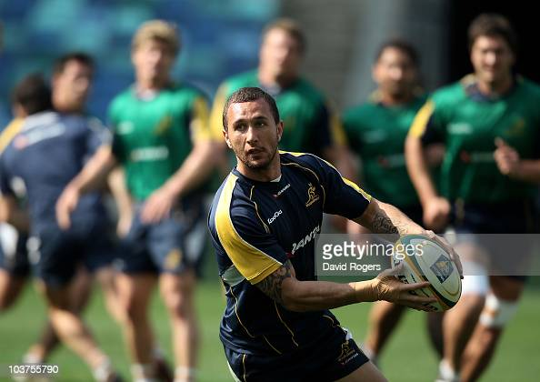 Quade Cooper passes the ball during an Australian Wallabies training session held at the Moses Mabhida Stadium on September 1 2010 in Durban South...