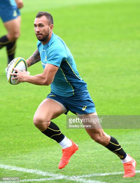 Quade Cooper runs with the ball during an Australian Wallabies training session at Ballymore Stadium on June 20 2017 in Brisbane Australia