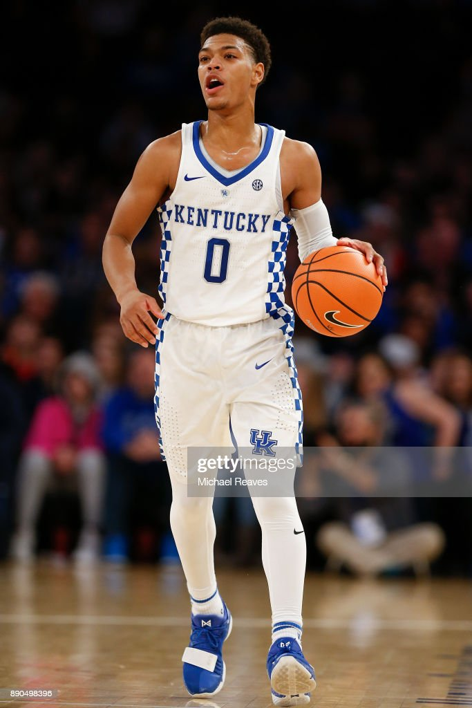 Quade Green #0 of the Kentucky Wildcats dribbles up the court against the Monmouth Hawks during the Citi Hoops Classic at Madison Square Garden on December 9, 2017 in New York City.
