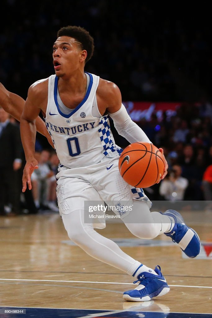 Quade Green #0 of the Kentucky Wildcats drives to the basket against the Monmouth Hawks during the Citi Hoops Classic at Madison Square Garden on December 9, 2017 in New York City.