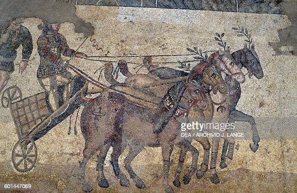 Quadriga detail from the mosaic floor depicting the Quadriga race in the Circus maximus from the palaestra Villa Romana del Casale Piazza Armerina...