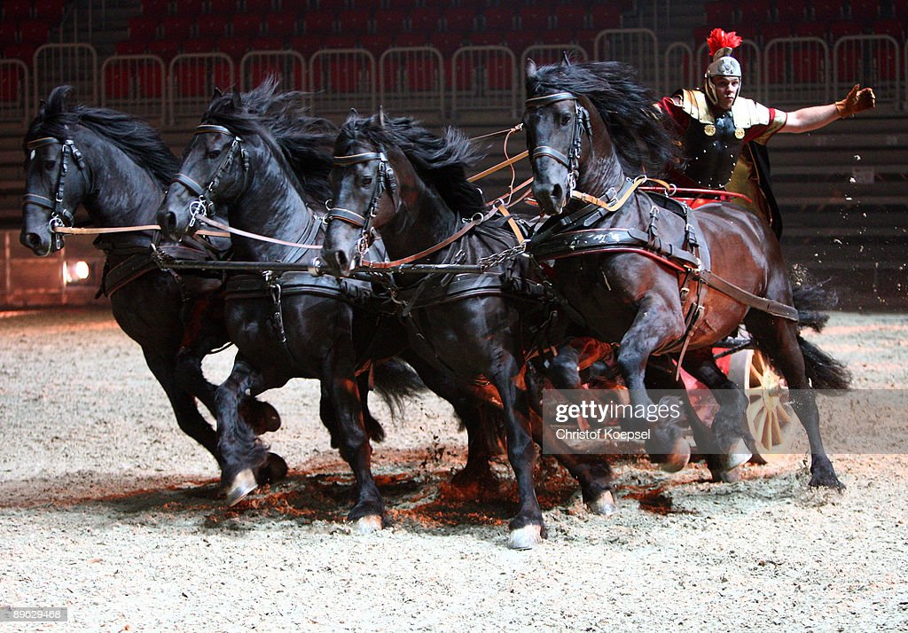A quadriga rider in action during the Ben Hur live show presentation at the ISS Dome on August 6, 2009 in Duesseldorf, Germany.