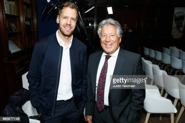 Quadruple World Champion Formula 1 Driver Sebastian Vettel and 1978 World Champion Formula 1 Mario Andretti attend the FIA Hall of Fame Induction...