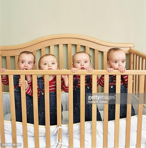 Quadruplet babies (9-12 months) standing in crib