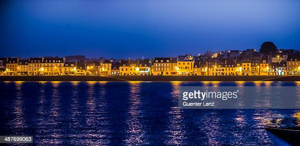 Quai with illuminated houses, Camaret-sur-Mer, Departement Finistere, Brittany, France