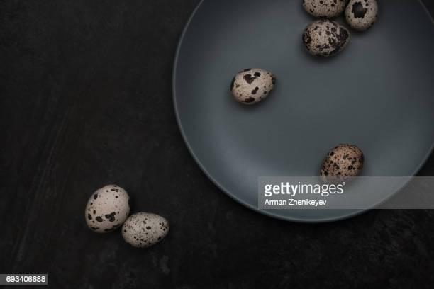 Quail eggs on a table