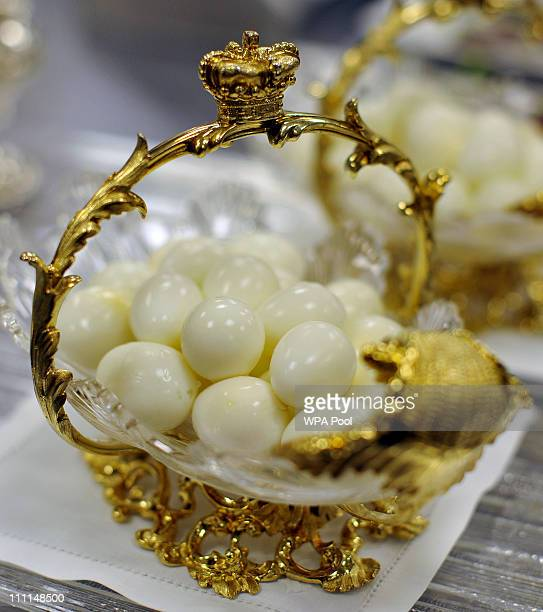 Quails eggs in a gold and crystal glass serving dish akin to that which is usually served at royal receptions held at Buckingham Palace on March 25...