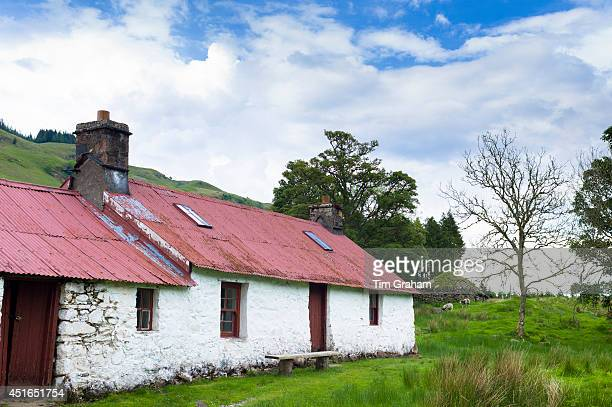 Quaint cottage dwelling with corrugated iron roof Stoner's House at Auchindrain highland farming township settlement and village folklore museum at...