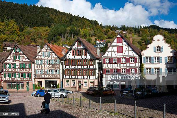 Quaint timberframed houses in Schiltach in the Bavarian Alps Germany