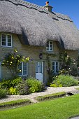 Quaint traditional rosecovered cottage and stream in Minster Lovell in The Cotswolds Oxfordshire UK