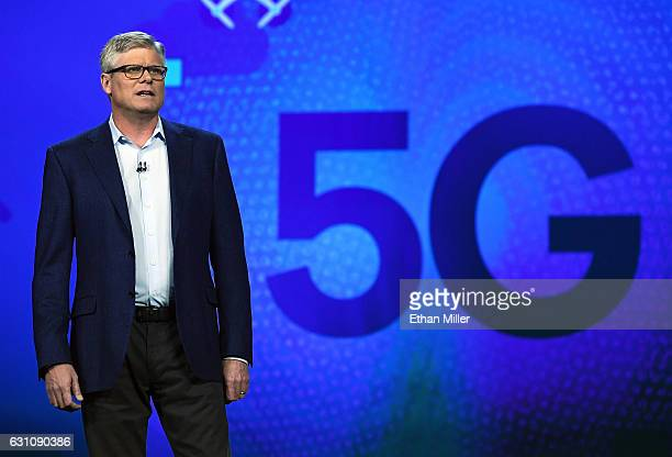 Qualcomm Inc CEO Steve Mollenkopf speaks during a keynote address at CES 2017 at The Venetian Las Vegas on January 6 2017 in Las Vegas Nevada CES the...